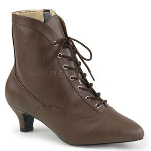 Shoes - Lace Up High Heel Ankle Booties Boots Shoes Zipper